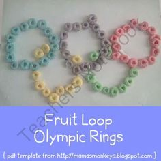 FREE Fruit Loop Olympic Rings craft from LittleMonkeyPrintables on - pinned by – Please Visit for all our pediatric therapy pins Olympic Crafts, Froot Loops, Free Fruit, Ring Crafts, Little Monkeys, Something To Do, Crochet Earrings, Templates, Daycare Ideas