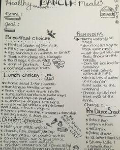 Healthy dancer meal plan.  For teen dancers.