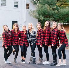 49e4afb73015 Bridesmaids will wear coordinating flannel shirts with black pants. Haven't  picked color of flannel yet. Will also have a small monogram.