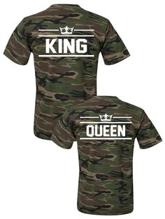 Matching KING and QUEEN t-shirts ★ SPECIAL ARMY COLLECTION ★ King Queen tshirts, Camo couples tshirts, Matching couples shirts, pärchen t-shirts, Paar T-shirts