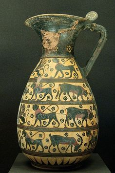 Proto-Corinthian olpe with animals and sphinxes, ca. 640 BC–630 BC. From Corinth