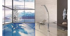 Nautical stainless steel showers for outdoor: Inoxstyle Pool Shower, Sewer System, Bbq Area, Backyard Fences, Garden Hose, Outdoor Pool, Ethereal, Outdoor Living, Waterfall