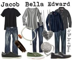 Outfits inspired by Jacob Black, Bella Swan, and Edward Cullen from the Twilight movies!