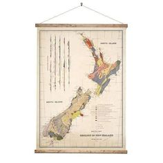 Beautifuly detailed Geology Map of New Zealand. This vintage style wall chart is mounted using aged wood batons and cotton rope, ready for you to hang. The polyester canvas print won't fade in the sun. Comes in a sturdy tube. Large: Height 107cm Width 80cm. Small: Height 80cm Width 60cm