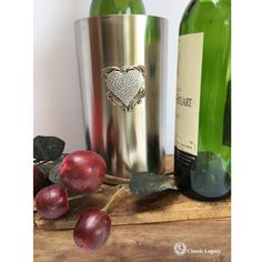 This wine cooler is embellished with a large silver antique reproduction medallion. Centered on the medallion is a hammered silver heart. The wine cooler is a double-walled insulated brushed stainless steel cooler. It keeps wine chilled and comes in a white gift box.  The cooler holds one bottle of wine. This is a great Valentine gift or wedding gift. Gifts For Wine Lovers, Wine Gifts, Gift For Lover, Wine Chiller, Wine Bottle Stoppers, Wine Carrier, Wine Online, Hammered Silver, Wine Making