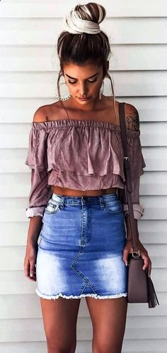 how to style a denim skirt + off-shoulder top and bag