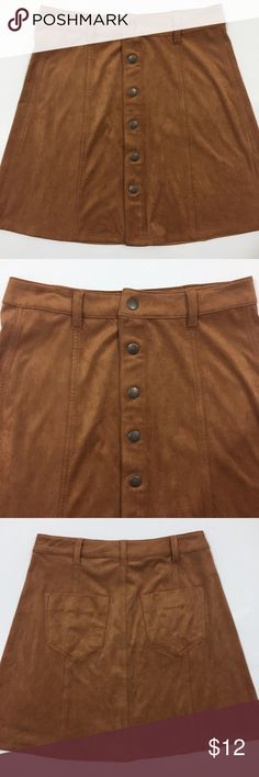 Brown Suede Button Up Skirt Brown suede button up skirt. In great condition. 90% polyester 10% spandex. Length 18 inches. Waist 13.5 inches. Size 4. ℹbundle for a great dealℹ Mossimo Supply Co. Skirts Mini