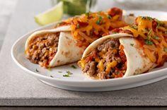 Cheesy Beef Enchiladas - ok more like burritos.  Enchiladas should be made with corn tortillas!