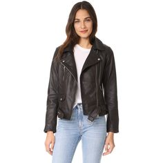Scotch & Soda/Maison Scotch Basic Leather Biker Jacket ($505) ❤ liked on Polyvore featuring outerwear, jackets, black, leather motorcycle jacket, genuine leather biker jacket, 100 leather jacket, genuine leather jackets and leather jackets