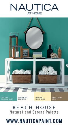 Beach House Paint Color Collection by Nautica at Home : A natural and serene palette inspired by the treasures that wash up along the shore and open windows that let in the salty breeze. Subdued, sun washed shades bring to mind sand drifts, speckled shells, sea glass and the gentle streaks of morning light and shadow. Life at a home near the water, colors natural and serene, the place where we all dream to be. View the color collection at : www.nauticapaint.com/Color/Beach-House
