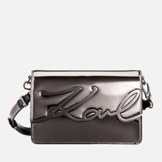Karl Lagerfeld Women's K/Signature Gloss Shoulder Bag - Nickel: Image 01