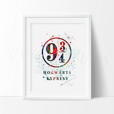 Harry Potter Platform 9 3/4 Hogwarts Express Watercolor Art Print Wall Decor