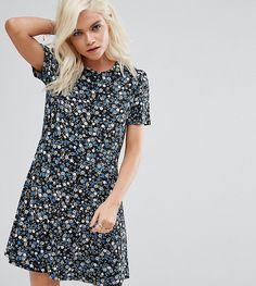 ASOS PETITE Mini Tea Dress in Floral Print - Black
