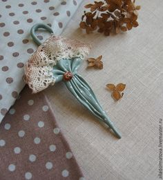 """Buy Umbrella """"Mint morning"""" - mint, leather, handmade, gift, accessories, umbrella, brooch, leather"""