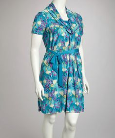 4f016a6ca5d Take a look at this Turquoise Floral Belted Dress - Plus by Glory Fashions  on