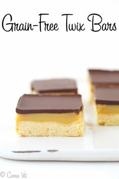 "Homemade Twix Bars (Grain-Free, Paleo, Primal, Gluten-Free) use sub for honey and plan-approved chocolate ""s""dessert Gluten Free Sweets, Paleo Dessert, Healthy Sweets, Gluten Free Recipes, Healthy Snacks, Paleo Baking, Gluten Free Baking, Comidas Paleo, Homemade Twix Bars"