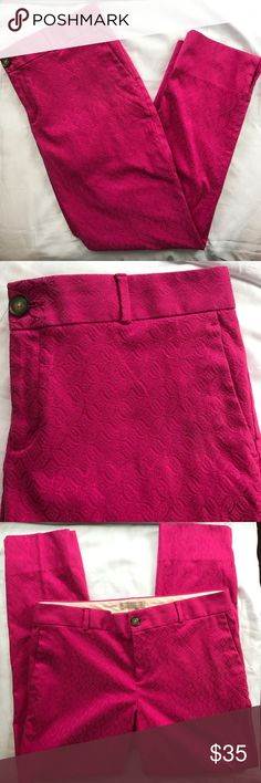 Banana Republic Women's Magenta Camden Pants Banana Republic Women's Magenta Camden Pants Size: 10 Style: skinny pants  Materials: 58% Cotton 39% polyester 3% spandex   Measurements (approximate) Waist (laying flat): 16 3/4 inches Outseam: 36 1/4 inches Inseam: 26 1/2  inches  Condition:  Great Pre Owned Condition No Rips, Holes Or Stains. Banana Republic Pants Skinny