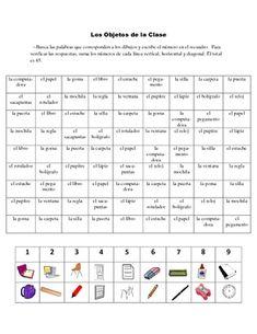 Spanish Classroom Object Activity Based on Sudoku | Spanish