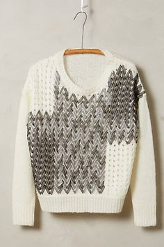 I love the idea with the ribbons on this pullover! #anthrofave #anthropologie…