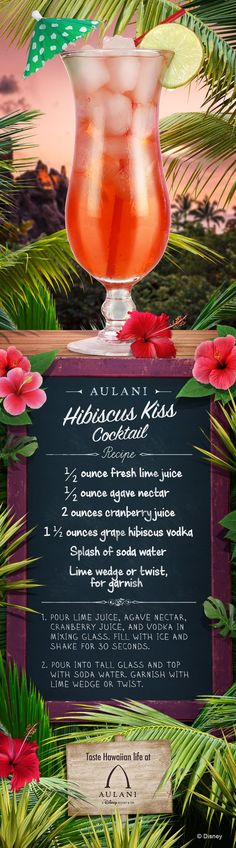 || Taylor Monroe Boutique || Get a kiss of refreshment with a Hibiscus Kiss Cocktail! Give this light and easy cocktail recipe a try and bring the flavors of Aulani to your home!