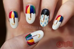 Rainbow Umbrella Manicure by The Daily Nail