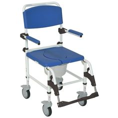 """Aluminum Rehab Shower Commode Chair with Four Rear-locking Casters with 5"""" Casters"""