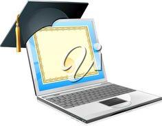 iCLIPART - Education laptop concept. Clip Art Illustration of a laptop computer with a mortar board cap and diploma certificate on screen. Concept for distance learning, or IT computer courses.
