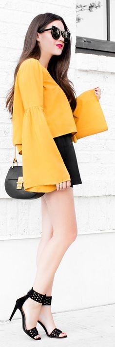 Sarah Style Seattle Mustard Bell Sleeve Top Black Skirt Blak Sandals
