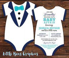 Smoking traje de bebé ducha invitación por LittleBeesGraphics