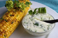 Grill-Roasted Corn with Cilantro-Lime Butter & Skinny Mashed Potatoes | thecafesucrefarine.com