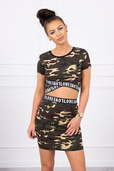 Set dama casual-sport cu imprimeu army 9093-4 Blouse And Skirt, Sport Casual, Camo Print, Modeling, Army, Two Piece Skirt Set, Brown, Skirts, Cotton