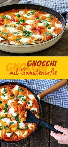 Gnocchi with tomato sauce and mozzarella recipe lunch Gnocchi with . - Gnocchi with tomato sauce and mozzarella Gnocchi with tomato sauce and - Veggie Recipes, Pasta Recipes, Beef Recipes, Vegetarian Recipes, Dinner Recipes, Cooking Recipes, Healthy Recipes, Shrimp Recipes, Snacks Recipes