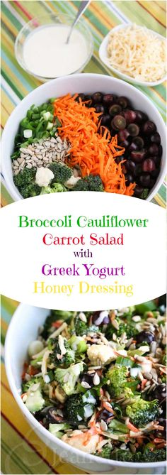 Broccoli Cauliflower Carrot Salad with Greek Yogurt Honey Dressing - you're going to love the light creamy dressing made with Greek yogurt - it's sweet and tangy ~ http://jeanetteshealthyliving.com