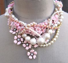 Pink Statement Necklace Pearl Necklace Chunky by AllThingsTinsel
