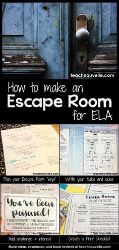 Using Escape Rooms in ELA is a great way to promote collaboration, critical thinking, and engagement. Students work together on a variety of tasks to find the necessary keys to escape. Learn more about how to develop and set up a successful escape room fo Escape The Classroom, Ela Classroom, English Classroom, Classroom Activities, Classroom Helpers, English Teachers, Vocabulary Activities, Classroom Ideas, 7th Grade Ela
