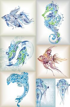 delicate patterns of marine life vector...Would  make amazing tattoos, my favorite is the 2nd fish going down on the right