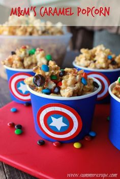 M&Ms Caramel Popcorn with free printable.  Perfect for your Captain America Family movie night! #HeroesEatMMs #Shop