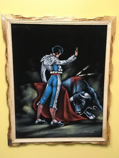~ This Special Hand Painted Oil Velvet Painting of a Bull and Bullfighter would make a Stunning addition to any home or office! ~ These are all Original Art - Hand Painted with modern acrylics and str