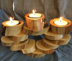 One of a kind tea light holders Elm Tree slices cut and glued in various patterns, some with bark on Hold tea light candles or votive candles. (candles or any other decoration in the images are not included) >>> DIMENSIONS <<< #1 4 x 9 x 5 high 2 8 x 6 x 3.5 3 6 x 3.5 x 6 4 7 x