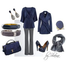 Dark blue with dark gray .. so pretty together, created by shauna-rogers on Polyvore