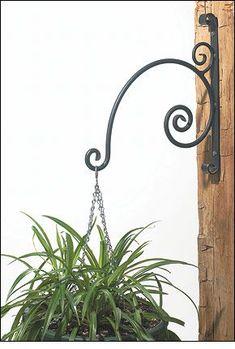 Forged Wrought-Iron Plant Hangers – Gardening – metal of life Wrought Iron Decor, Wrought Iron Gates, Iron Furniture, Steel Furniture, Metal Plant Hangers, Pot Jardin, Iron Plant, Steel Art, Flower Stands
