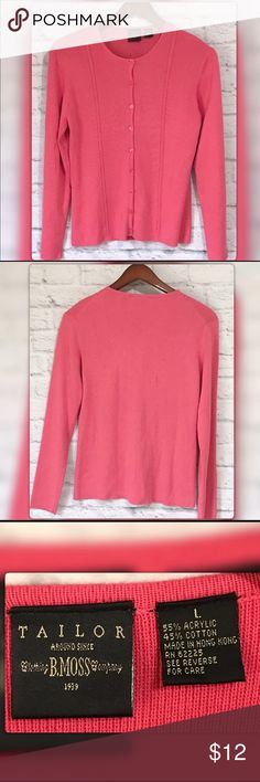 Tailor B Moss Pink Cardigan Perfect shade of pink basic cotton Blend Cardigan. Gently used with no flaws Tailor B. Moss Sweaters Cardigans