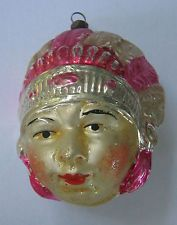 Indian head glass ornament,