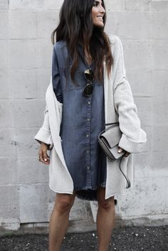 39 Cozy Outfit Ideas That Are Still Sexy - Denim Shirt Dress - Ideas of Denim Shirt Dress - Sexy Dress Outfit Ideas picture 4 Fashion Mode, Look Fashion, Autumn Fashion, Womens Fashion, Fashion Trends, Street Fashion, Latest Fashion, Mode Outfits, Casual Outfits