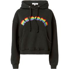 Re/Done Rainbow Logo Hoodie ($295) ❤ liked on Polyvore featuring tops, hoodies, black, jackets, shirts, hooded sweatshirt, cotton hoodie, rainbow hoodies, hoodie top and rainbow top