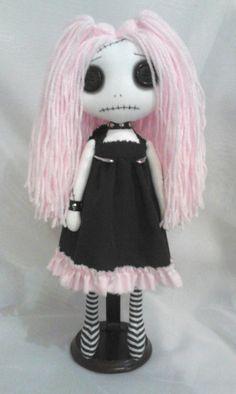 Gothic Rag Doll Lizy the pastel goth by ChamberOfDolls on Etsy