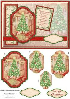 VINTAGE CHRISTMAS TREE A5 Quick Card on Craftsuprint designed by Janet Briggs - Christmas card front, with pyramage.Features vintage Christmas image of a Christmas tree in the hallway.Verse on plaque reads,May the meaning of Christmas be deeper,its friendships stronger,and its hopes brighteras it comes to you this year. - Now available for download!