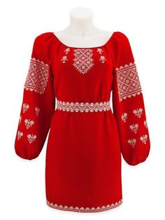 """Women's red blouse with white """"Naddnipryansky"""" ornament Embroidery On Kurtis, Embroidery Dress, Frock Fashion, Fashion Outfits, Womens Fashion, Church Outfits, Mode Hijab, Red Blouses, Simple Dresses"""