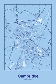Cambridge, England Map Print