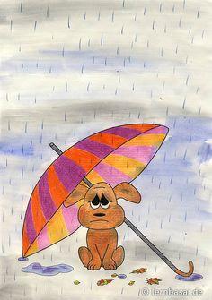 So ein Hunde-Wetter - Lusiges Bild mit Wasserfarben selbts mmalen - Startpunkt DE